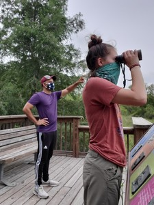 birders with masks