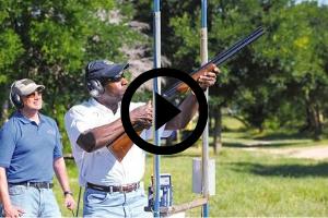 man practicing shooting with a shotgun, video link