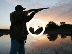 Hunter aiming during sunrise