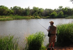 man fishing stands by pond