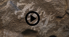 Hueco Tanks pictograph of people and a horse
