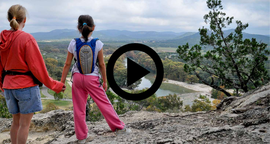 2 girls holding hands at Garner overlook, video link