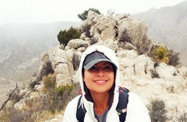 Volunteer on mountainside