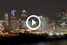 DFW skyline, lit up, video link