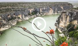 Seminole Canyon overlook with green water below, video link