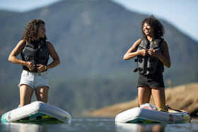 Two ladies on stand up paddleboards