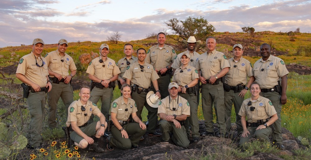Diverse group of park police officers at Inks Lake