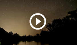 South Llano river night view, moon, with video link