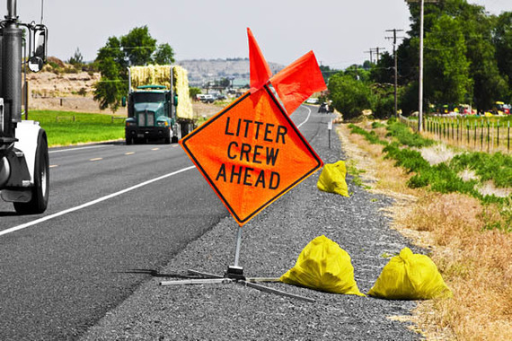 Litter on Highway Sign