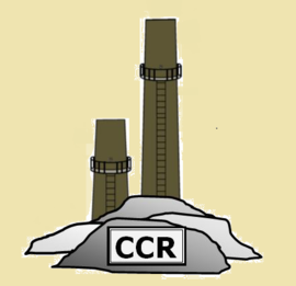 Coal stack with Coal Combustion Residual (CCR) abbreviation