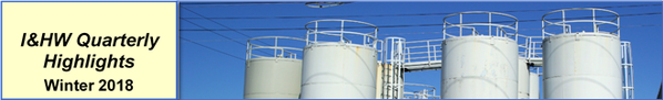 Industrial and Hazardous Waste Quarterly Highlights Winter 2018 Banner with picture of Industrial Tanks