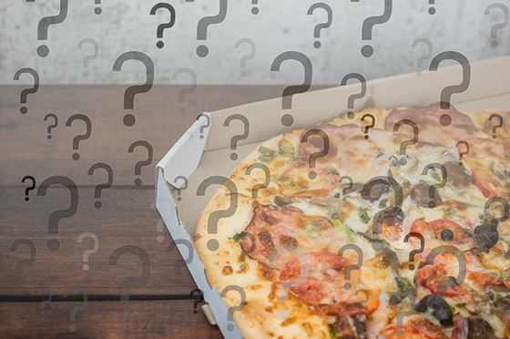Pizza Box and Question Marks