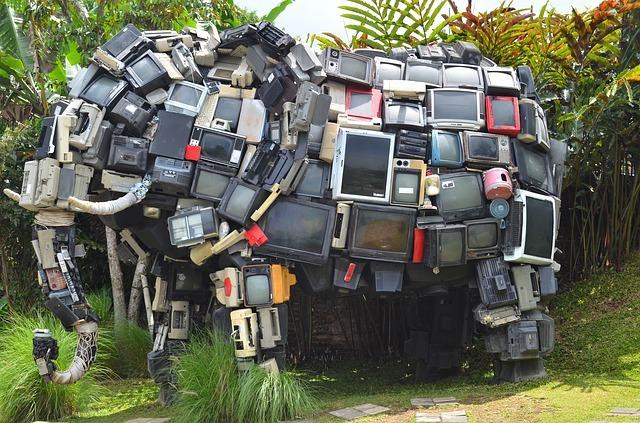 elephant sculpture made form old TVs