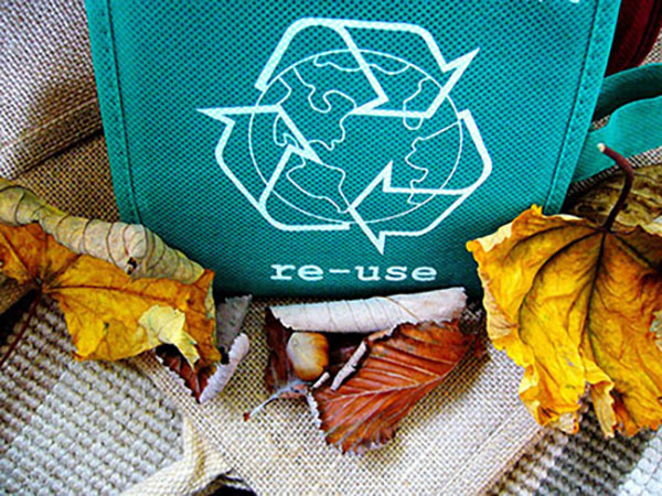 Recycle bag with leaves