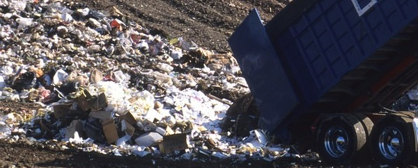 dump truck in landfill