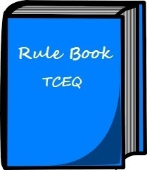 """Image of a Blue Book with the Text """"Rule Book TCEQ"""""""