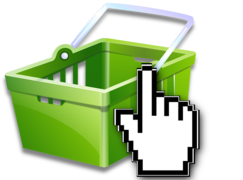 Green basket with hand icon