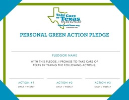 Green Action Pledge Certificate Printable