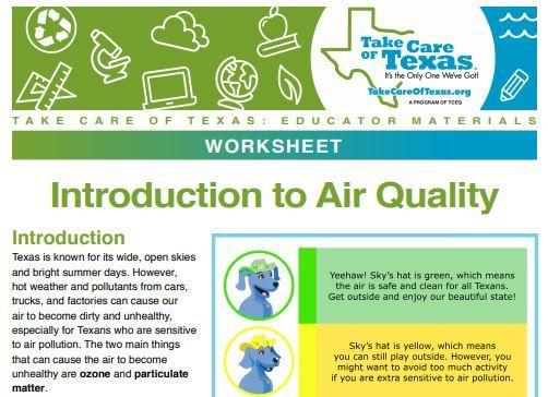 Air Monitoring Worksheet