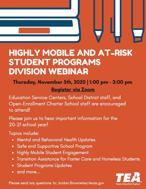 Highly Mobile and At-Risk Student Programs Division Webinar