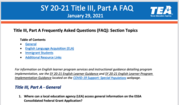 SY 20-21 Title III, Part A FAQ page
