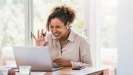 Lady attending a virtual meeting