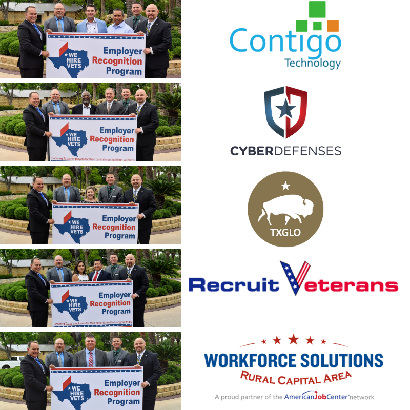 WSRCA, Contigo Technology, CyberDefenses, Texas General Land Office, Recruit Veterans, Recognized as We Hire Vets Employers