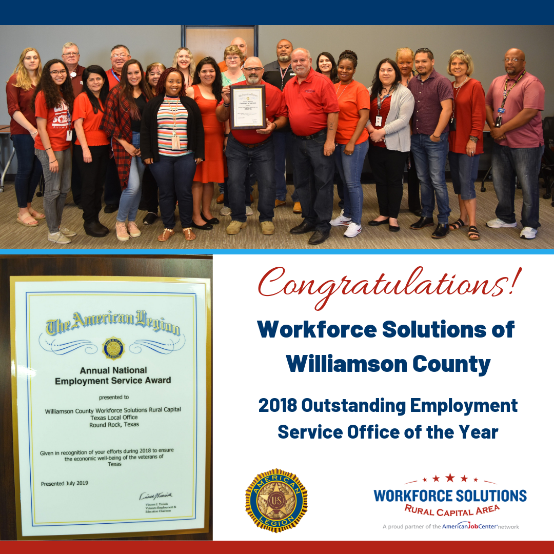 WSRCA Team at Workforce Solutions of Williamson County Honored by American Legion for Outstanding Employment Services for Veterans