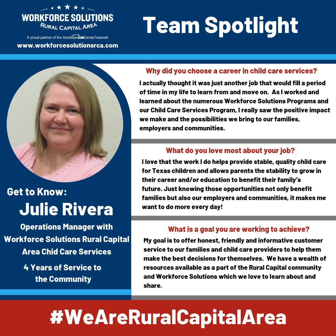 WSRCA Child Care Services Team Spotlight Julie Rivera
