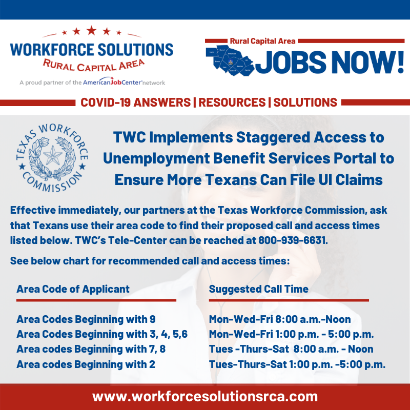 TWC UI Tele-Center Staggerd Hours