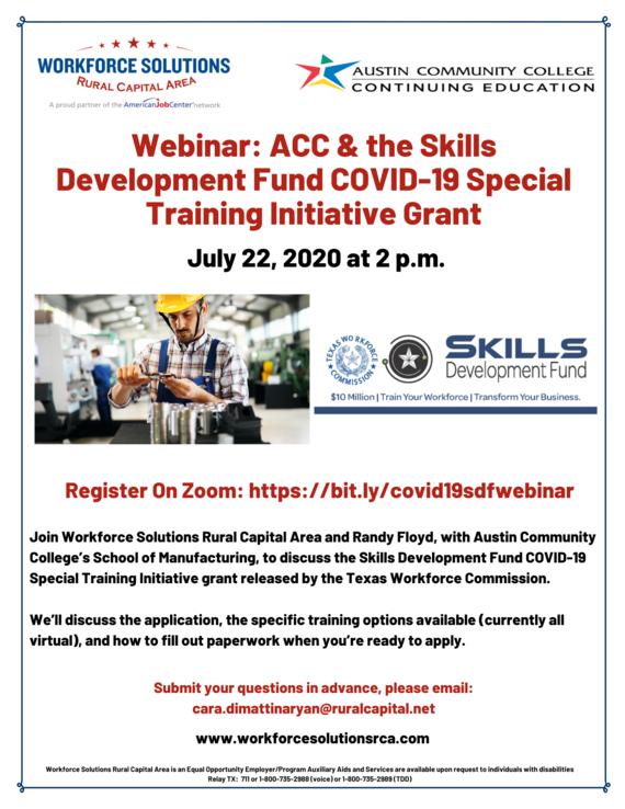 WSRCA Webinar ACC Skills Development Fund Grant