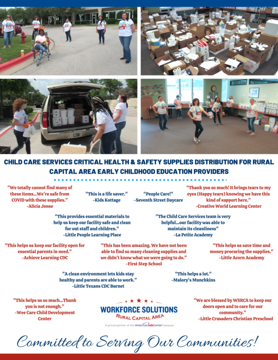 WSRCA Child Care Services Safety Supplies Distribution
