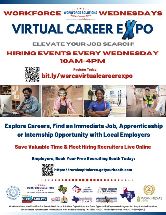 WSRCA Workforce Wednesdays Virtual Career Expo Flyer