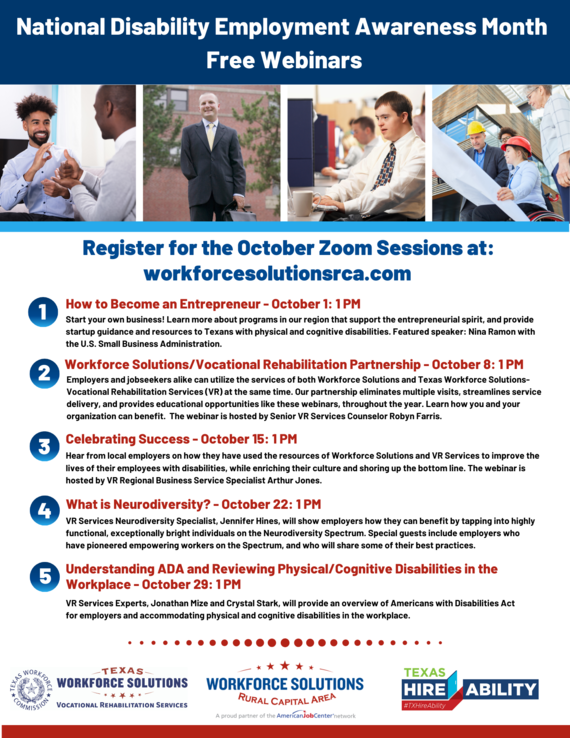 WSRCA Texas Workforce Solutions-Vocational Rehabilitation Services National Disability Employment Awareness Month Webinars