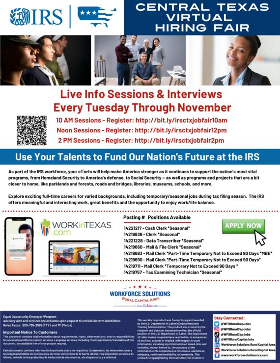 WSRCA IRS Virtual Career Fairs on Tuesdays
