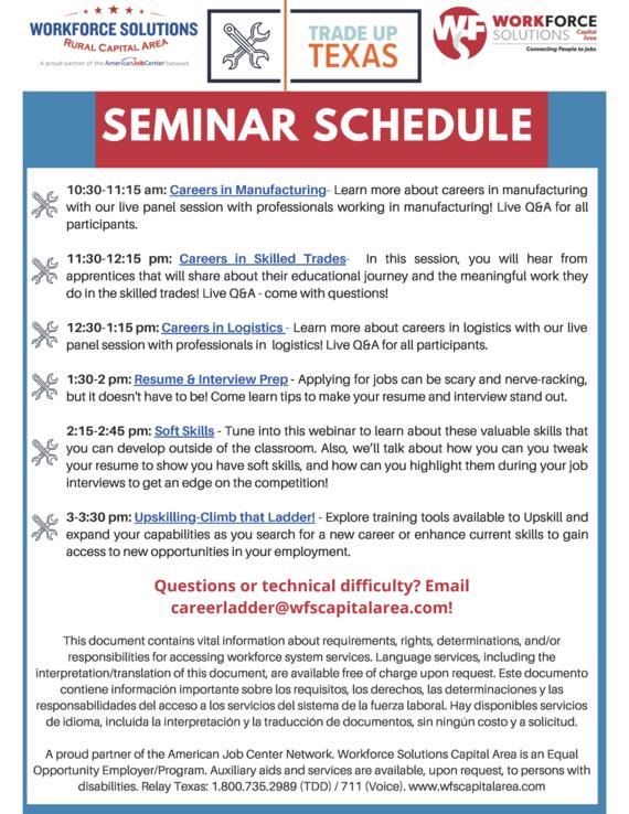 Trade Up Texas Virtual Fair Seminar Schedule