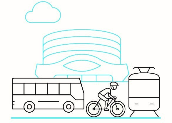 Drawing of bus, bike and tram