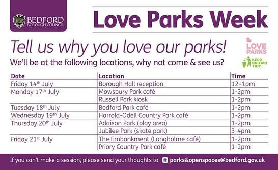 Love Parks week locations and dates table