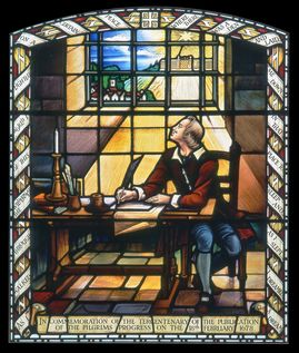 Stained-glass window of John Bunyan in Bedford Gaol
