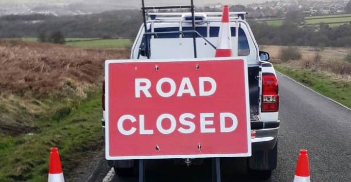 Road Closure going in - Glen Road