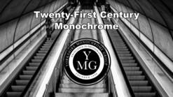 Yorkshire Monochrome exhibition promo image - the club logo superimposed over B&W shot of escalators