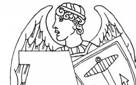Colouring in sheets with museum objects beginning with A - including Angel and arrow heads