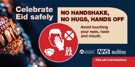 Celebrate Eid safely - no hugs, no handshakes