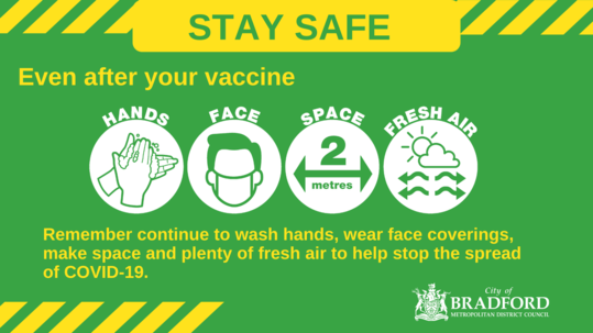 After your vaccine still use hands face space