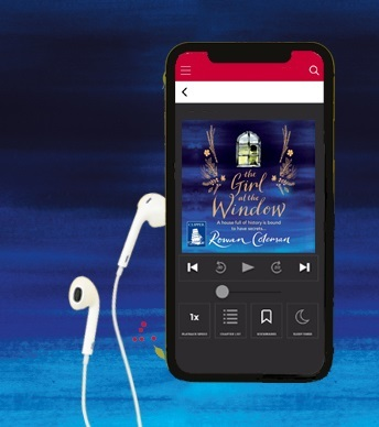 Girl at the window e-audiobook on a phone
