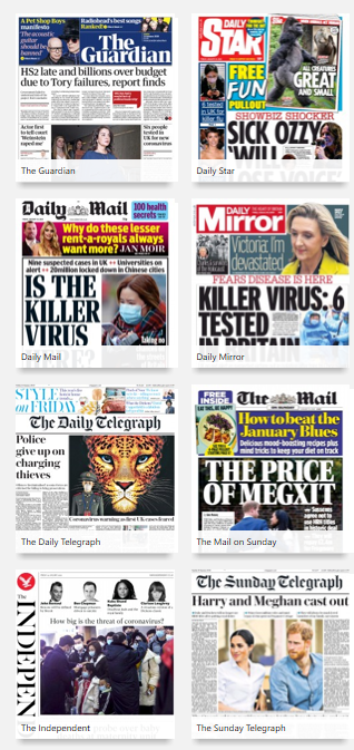 Selection of UK newspapers available using pressreader