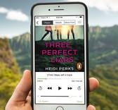 e-audio book Three Perfect Liars displayed on a phone