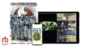 Ghostbusters comic on a tablet and phone