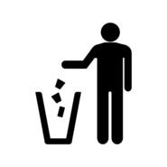 Disposing of litter in a bin