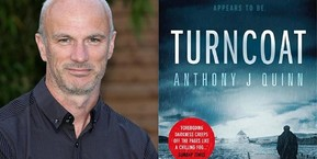 Photo of author Anthony J Quinn and the book cover of his novel Turncoat